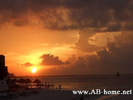 Sunset at Cancun Beach