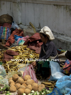 A woman sells vegetables on a market in Luang Prabang.