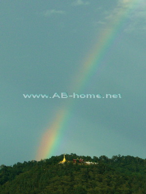 Rainbow over the Wat Pla That near Chiang Dao
